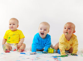 Babies playing painting